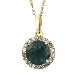 Lab-Created Emerald and White Sapphire 10K Yellow Gold Halo Pendant Necklace