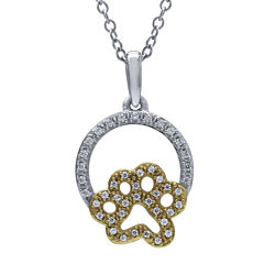 ASPCA® Tender Voices™ 1/6 CT. T.W. Diamond Paw Pendant Necklace