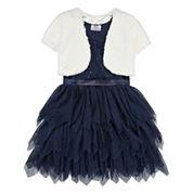 Knit Works Girls Short  Sleeve Jacket Dress