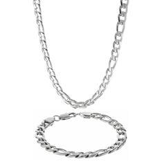 Mens Stainless Steel 9mm Figaro Chain & Bracelet Boxed Set