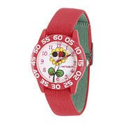 Red Balloon™ Girls Red Flower Strap Watch