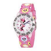 Disney® Minnie Mouse Girls Pink Strap Watch