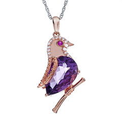 Lab-Created Amethyst and Ruby Bird Pendant Necklace