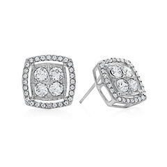 Diamond Glamour™ Diamond- and Crystal-Accent Sterling Silver Square Halo Stud Earrings