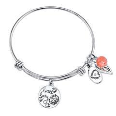 Footnotes Womens Pink Silver Over Brass Bangle Bracelet
