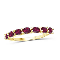 Lab-Create Red Ruby Gold Over Silver Delicate Ring