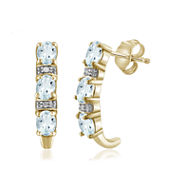 Diamond Accent Blue Aquamarine 14K Gold Over Silver Drop Earrings
