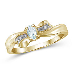 Womens Diamond Accent Blue Aquamarine Gold Over Silver Delicate Ring