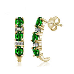 Diamond Accent Green Chrome Diopside 14K Gold Over Silver Drop Earrings