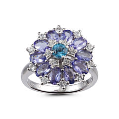 Womens Blue Topaz Sterling Silver Cluster Ring