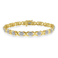 1 CT. T.W. Diamond 10K Yellow Gold Over Silver Bracelet