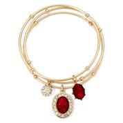 Monet® Red Crystal Charm 3-pc. Bangle Bracelet Set
