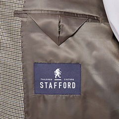 Stafford Yearround Tan Brown Houndstooth Sport Coat-Big and Tall
