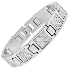 Mens Stainless Steel and Gray Carbon Fiber Link Bracelet