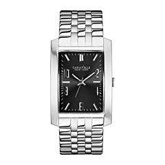 Caravelle New York® Mens Gray Rectangle Dial with Silver-Tone Watch 43A118