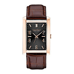 Caravelle New York® Mens Black Rectangular Dial & Leather Strap Watch 44A104