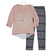 Knit Works Burn Out Graphic Top Legging Set - Girls 7-16 and Plus
