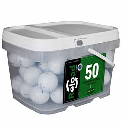 50 pack Titleist Prov1X Refinished Golf Balls in a reusable plastic bucket with handle.