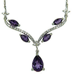 Genuine Amethyst and Lab-Created White Sapphire Sterling Silver Y Necklace