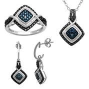 1/10 CT. T.W. Genuine Color-Enhanced Diamond 3-pc. Jewelry Set