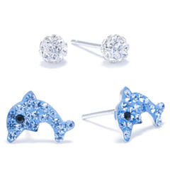 Silver Treasures 2-pc. Blue Sterling Silver Earring Sets