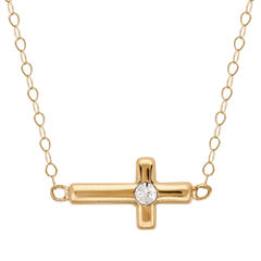 Teeny Tiny® 14K Yellow Gold Crystal Accent Side Cross Necklace