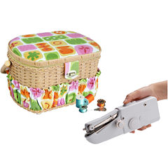 Michley 42-pc. Sewing Basket & Handheld ZDML 2 Sewing Machine