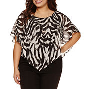 Alyx Short Sleeve Round Neck Woven Blouse with Necklace-Plus