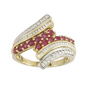 Lead Glass-Filled Ruby & Diamond-Accent 10K Gold Bypass Ring
