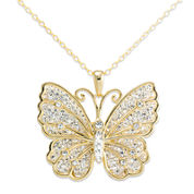 Crystal-Accent 14K Yellow Gold Over Silver Butterfly Pendant Necklace