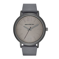 Skechers® Mens Casual Gray Silicone Strap Analog Watch