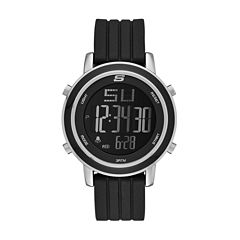 Skechers® Womens Black Silicone Strap Digital Chronograph Watch