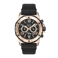 Bulova® Mens Black & Rose Gold-Tone Chronograph Sport Watch 98B104