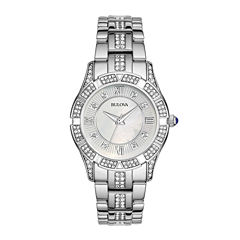 Bulova® Womens Crystal-Accent Silver-Tone Bracelet Watch 96L116