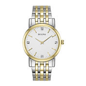 Bulova® Mens 2-Tone Diamond Accent Watch 98D114