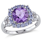 Genuine Amethyst & Tanzanite Ring