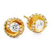 1/2 CT. T.W. Diamond Spiral 10K Yellow Gold Stud Earrings