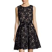 Blu Sage Sleeveless Lace Fit-and-Flare Dress