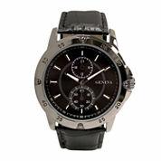 Geneva Mens Black Strap Watch