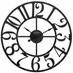 Bulova Gabriel Rustic Brown Finish Wall Clock-C4821