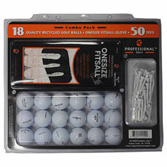 18 Pack TopFlite Recycled Golf Balls, One Size Fits All Glove and Tees.