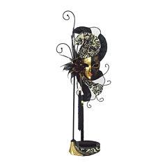 Mardi Gras Mask Black & Gold Jewelry Stand Organizer