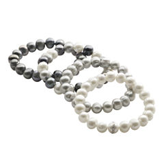Cultured Freshwater Pearl Black & Gray 4-pc. Stretch Bracelet Set
