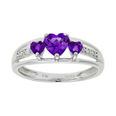 Genuine Amethyst & Diamond-Accent Heart-Shaped 3-Stone 10K White Gold Ring