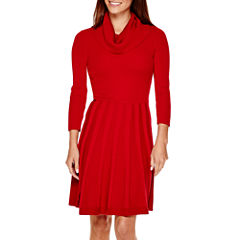 Liz Claiborne® 3/4-Sleeve Cowlneck Fit-and-Flare Dress - Petite
