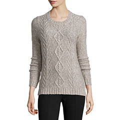 St. John's Bay® Marled Cable Pullover - Tall
