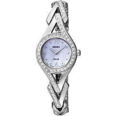 Seiko® Womens Silver-Tone Mother-of-Pearl Solar Watch SUP173