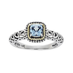 Shey Couture Genuine Blue Topaz Sterling Silver and 14K Yellow Gold Cushion Heart Ring