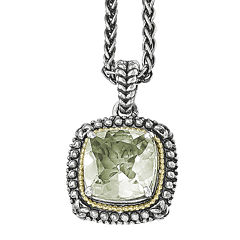 Shey Couture Genuine Green Quartz  Sterling Silver Pendant Necklace