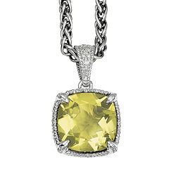 Shey Couture Genuine Lemon Quartz and Diamond-Accent Sterling Silver Pendant Necklace